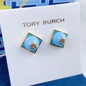 Tory Burch Blue Enamel Color Earrings